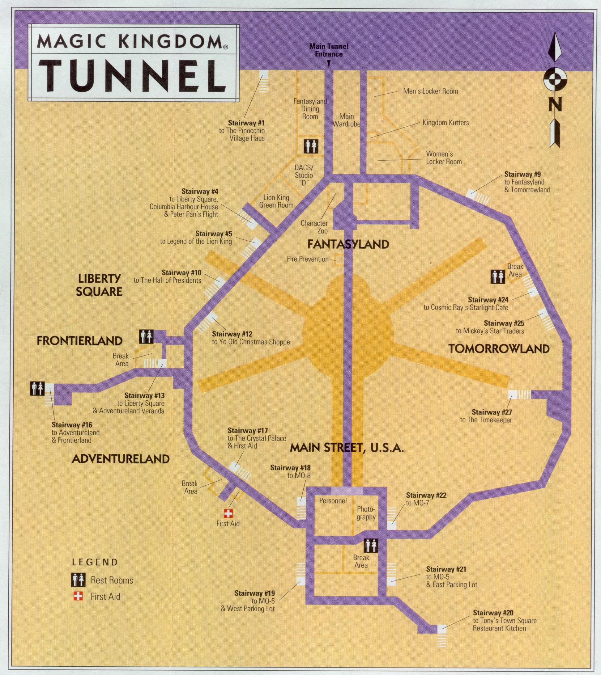 WDW Magic Kingdom Utilidors Large Map